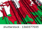abstract flag of wales. 3d... | Shutterstock . vector #1360377035