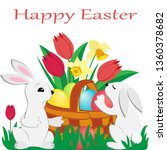 two cute easter rabbits and a...   Shutterstock .eps vector #1360378682