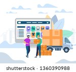 fast delivery service. man... | Shutterstock .eps vector #1360390988