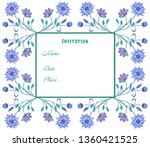 floral frame of twigs with... | Shutterstock . vector #1360421525