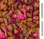 tropical seamless pattern with... | Shutterstock . vector #1360442858