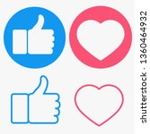 thumbs up and heart button....   Shutterstock .eps vector #1360464932