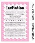 pink retro invitation template. ... | Shutterstock .eps vector #1360465742