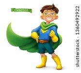 little boy in superhero costume ...   Shutterstock .eps vector #1360492922