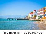 Beautiful Paralia Katerini beach and church, Greece