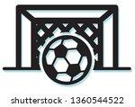 football strike on goal post  ... | Shutterstock .eps vector #1360544522