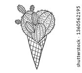 cactus in a ice cream waffle... | Shutterstock .eps vector #1360562195