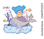 beautiful mermaid with narval... | Shutterstock .eps vector #1360591025