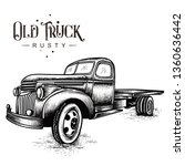 old truck rusty | Shutterstock .eps vector #1360636442