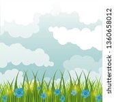 beatiful gardenwith flowers... | Shutterstock .eps vector #1360658012