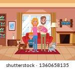 family inside home scenery... | Shutterstock .eps vector #1360658135