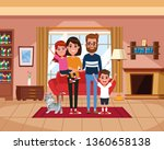 family inside home scenery... | Shutterstock .eps vector #1360658138