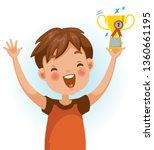 boy win. positive emotions ... | Shutterstock .eps vector #1360661195