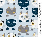 cute cats muzzles seamless... | Shutterstock .eps vector #1360667252