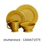 golden dinner set  cookware set ... | Shutterstock . vector #1360671575