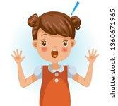 little girl  surprised.... | Shutterstock .eps vector #1360671965
