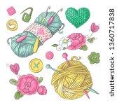 set for handmade knitted... | Shutterstock .eps vector #1360717838