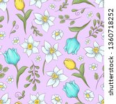 seamless pattern of daffodils...   Shutterstock .eps vector #1360718252
