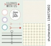 collection of vintage romantic... | Shutterstock .eps vector #136072802