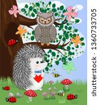 the hedgehog in the forest... | Shutterstock .eps vector #1360733705