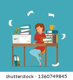 woman busy tired working on... | Shutterstock .eps vector #1360749845