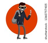 criminal with knife and money... | Shutterstock . vector #1360757405