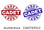 Grunge CADET round stamp seals isolated on a white background. Round seals with distress texture in red and blue colors. Vector rubber imitation of CADET title inside circle form with stripes.