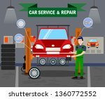 car service and repair flat... | Shutterstock .eps vector #1360772552