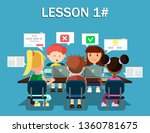 children with laptops share... | Shutterstock .eps vector #1360781675