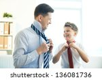 photo of happy boy and his...   Shutterstock . vector #136081736