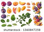 Stock photo set with different flying in air fresh ripe whole and cut plums with leavs isolated on white 1360847258