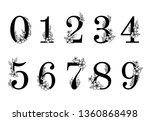 flower ornate numbers. elegant... | Shutterstock .eps vector #1360868498