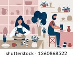 pottery hobby. handcrafted... | Shutterstock .eps vector #1360868522