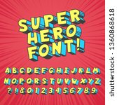 super hero comics font. comic...   Shutterstock .eps vector #1360868618