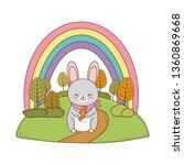 cute rabbit in the field... | Shutterstock .eps vector #1360869668
