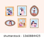 set woman and man with daughter ... | Shutterstock .eps vector #1360884425