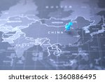 blue world map focus on china...   Shutterstock . vector #1360886495