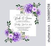 watercolor violet rose wedding... | Shutterstock .eps vector #1360889258