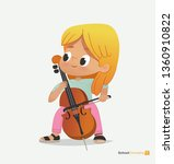 blond girl sit on chair play... | Shutterstock .eps vector #1360910822