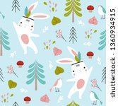 vector forest pattern with... | Shutterstock .eps vector #1360934915