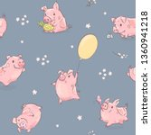 2019 new year pink pig in...   Shutterstock .eps vector #1360941218