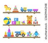 cartoon color toys on shelves... | Shutterstock .eps vector #1360944248