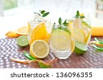 fresh drink with lemons and ice | Shutterstock . vector #136096355
