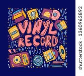 vinyl record concept. text with ... | Shutterstock .eps vector #1360963892