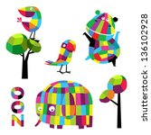 vector set with animals. zoo. | Shutterstock .eps vector #136102928