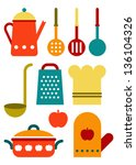 colorful kitchen utensil set... | Shutterstock .eps vector #136104326
