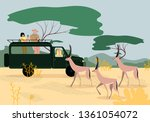 man and women tourists driving... | Shutterstock .eps vector #1361054072