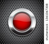 red button on metal perforated... | Shutterstock . vector #1361067308