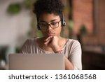 focused african american girl... | Shutterstock . vector #1361068568