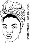 black woman with african turban ... | Shutterstock .eps vector #1361077928